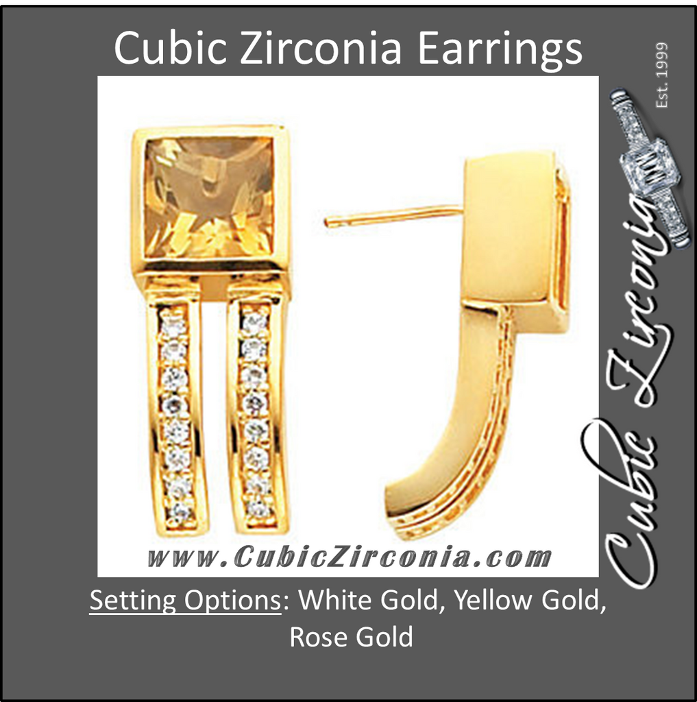 Cubic Zirconia Earrings- Square/Princess Center