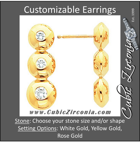Cubic Zirconia Earrings- Customizable 3-Stone Round Journey-Style Drop Dangle Earring Set