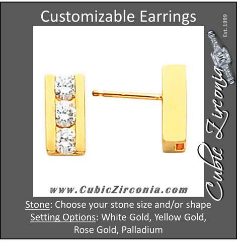 Cubic Zirconia Earrings- Customizable 3-Stone Round Cut Channel Earring Set