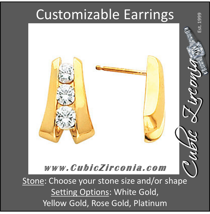 Cubic Zirconia Earrings- Customizable Graduated 3-Stone Channel Earring Set