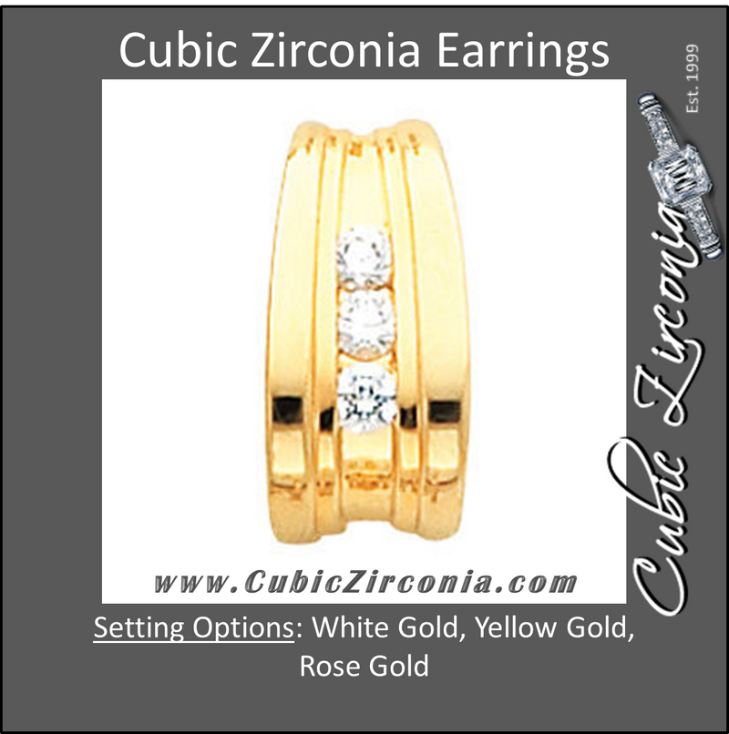 Cubic Zirconia Earrings- 0.50 Carat 3-Stone Dangle with Grooved Channel Earring Set