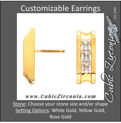 Cubic Zirconia Earrings- 3-Stone Princess