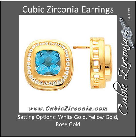 Cubic Zirconia Earrings- Antique Cushion Center