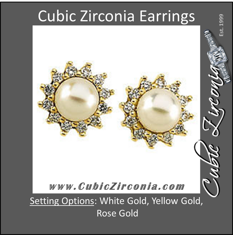 Cubic Zirconia Earrings- 0.36 Carat CZ Halo Pearl Stud Earring Set