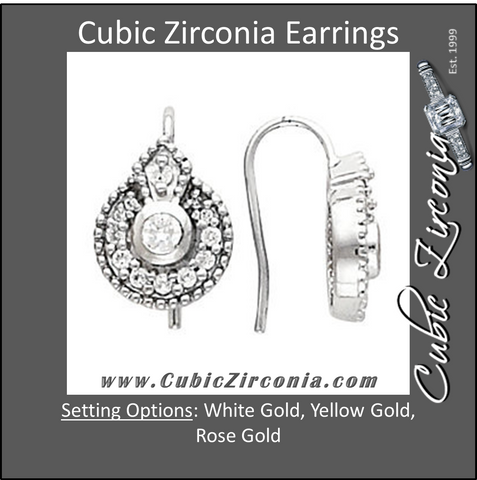 Cubic Zirconia Earrings- 0.50 Vintage Halo Dangles featuring Filigree Earring Set