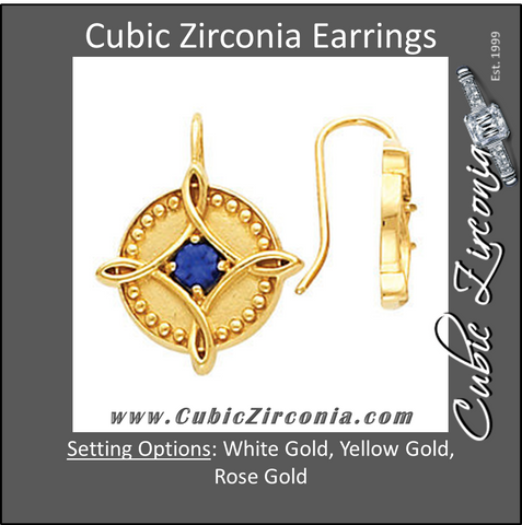 Cubic Zirconia Earrings- 0.46 Carat Beaded Metal Solitaire with Blue Imitation Sapphire Earring Set