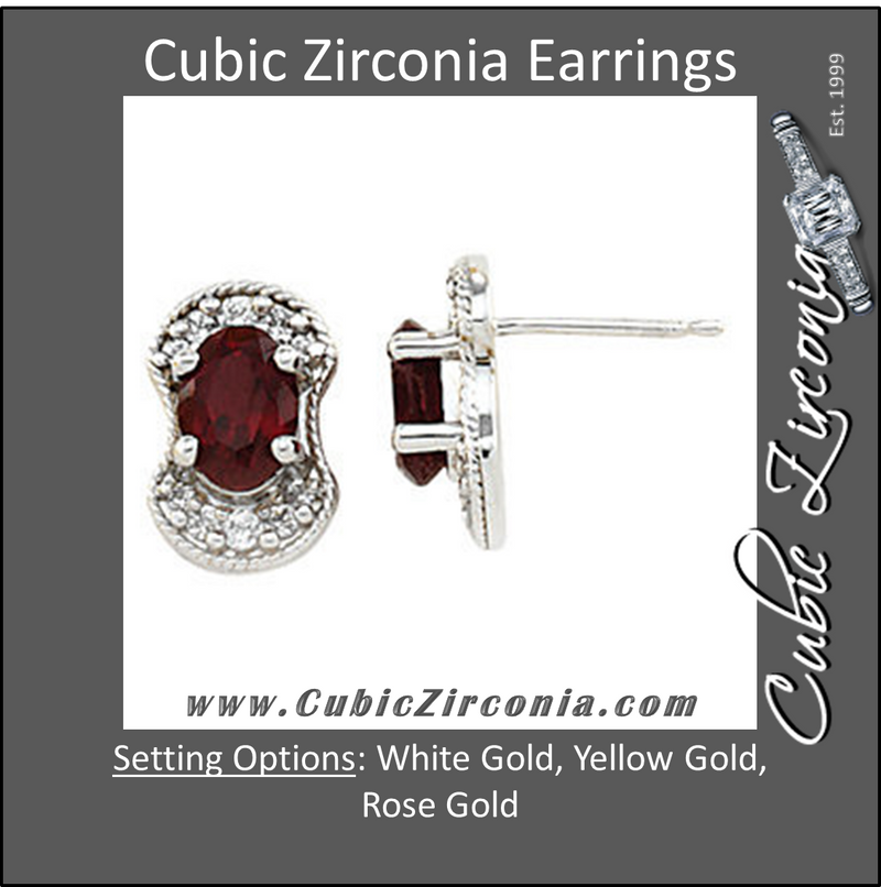 Cubic Zirconia Earrings- 2.30 Carat Vintage Partial Halo Oval Center Stud Earring Set