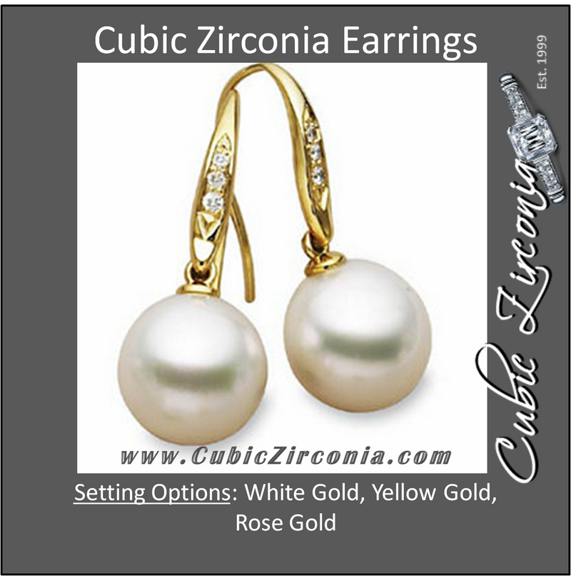 Cubic Zirconia Earrings- 0.10 Carat Round Cut CZ Pearl Drop Dangle Earring Set