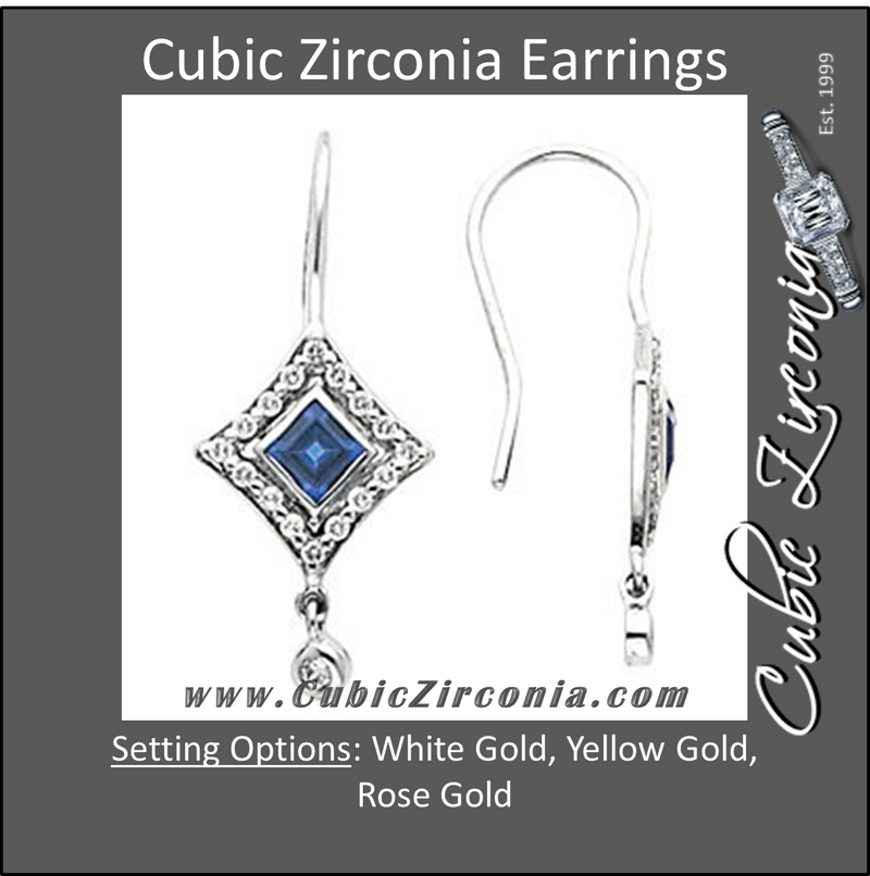 Cubic Zirconia Earrings- 0.80 Carat Bezel Princess Cut with Round Halo Earring Set