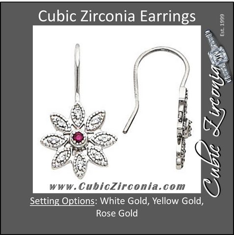 Cubic Zirconia Earrings- 0.22 Carat Round Cut Vintage Floral Inspired Dangle Earring Set