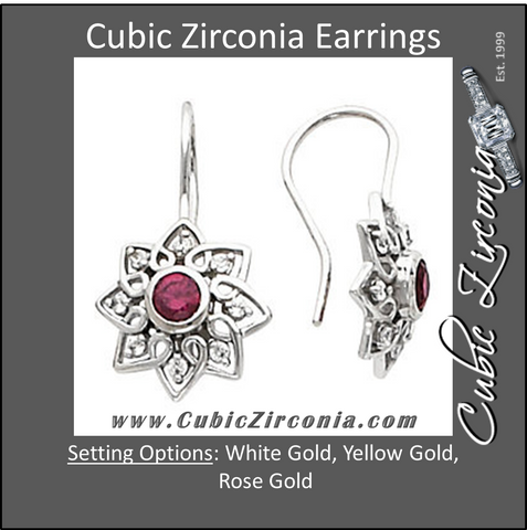 Cubic Zirconia Earrings- Bishop Hook for Round Center
