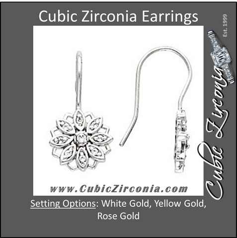 Cubic Zirconia Earrings- 0.22 Carat Vintage Flower Design Dangle Drops Earring Set