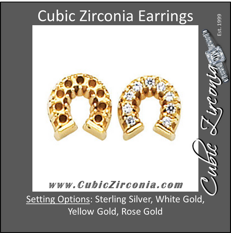 Cubic Zirconia Earrings- 0.27 Carat Round Cut Horseshoe Inspired Earring Set