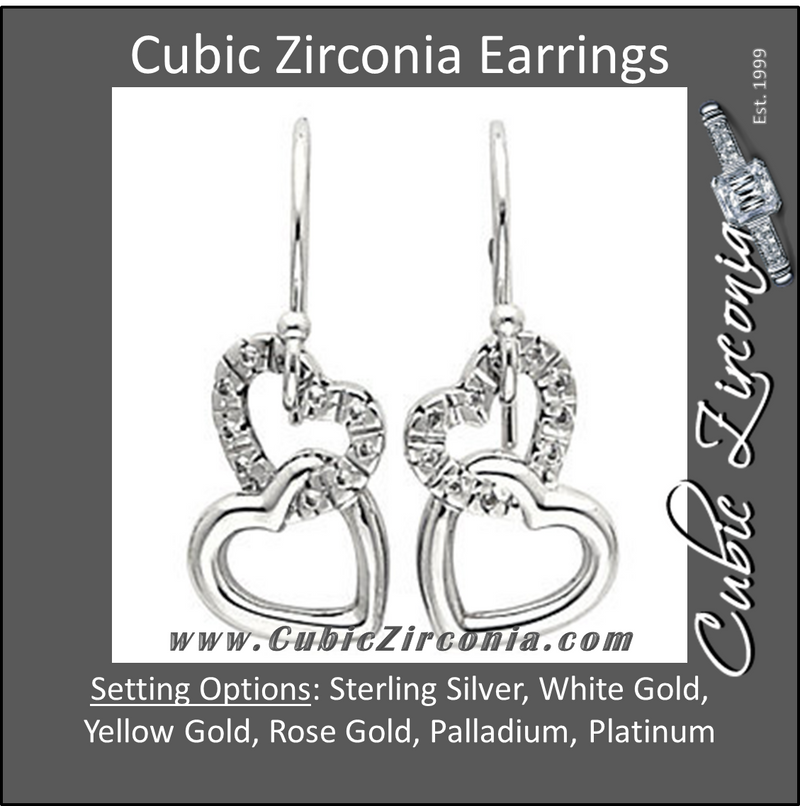 Cubic Zirconia Earrings- 0.20 Carat Linked Hearts Dangle Earring Set