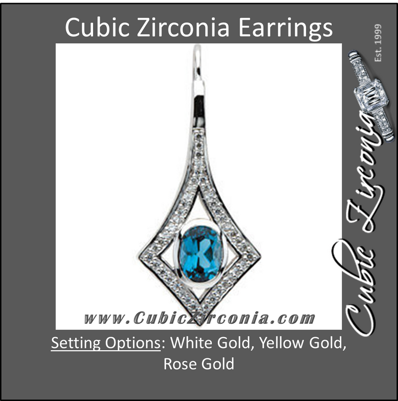 Cubic Zirconia Earrings- 2.40 Carat Squared Drop Halo Earring Set with Oval Center