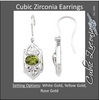 Cubic Zirconia Earrings- 2.02 Carat Oval Cut Center Vintage Fleur-de-lis Dangle Earring Set