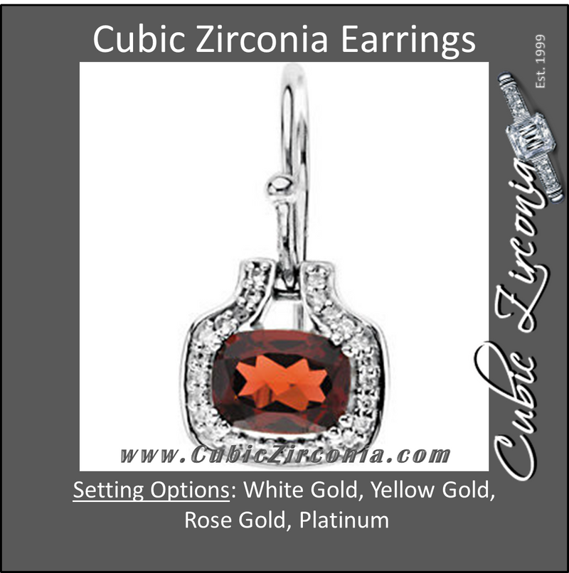 Cubic Zirconia Earrings- 4.06 Carat Antique Cushion Cut Drop Dangle with Halo Earring Set