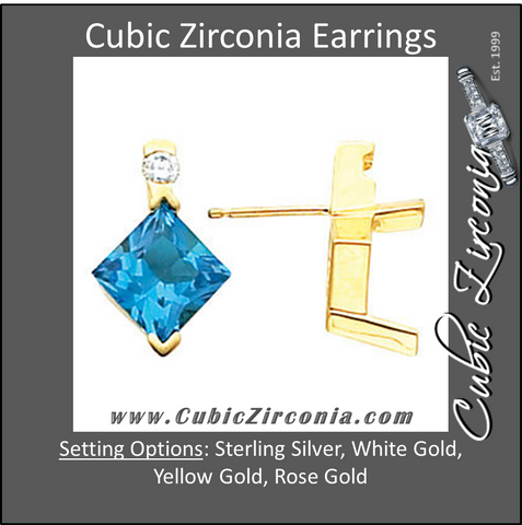 Cubic Zirconia Earrings- 5.20 carat Princess and Round 2-stone Earring Set