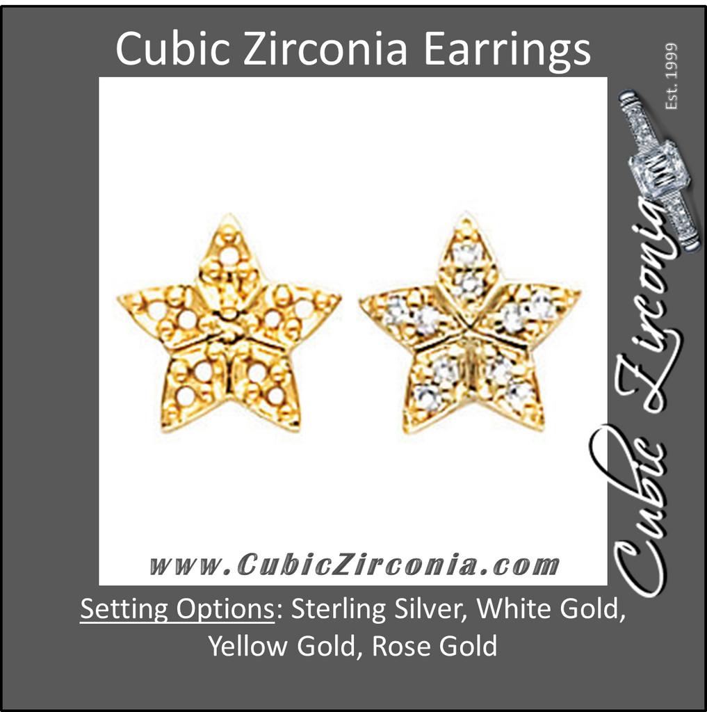 Cubic Zirconia Earrings- 0.20 Carat Round Cut Star Inspired Stud Earring Set