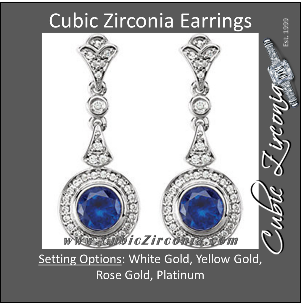 Cubic Zirconia Earrings- 2.0 Carat Vintage 66-stone Round Halo-Styled Drop Dangle Earring Set