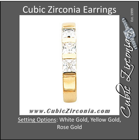 Cubic Zirconia Earrings- 3 Stone Princess J-Hoop
