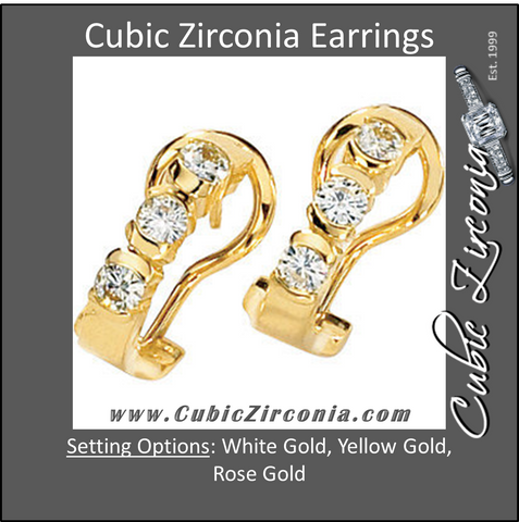 Cubic Zirconia Earrings- 3 Stone J- Hoop