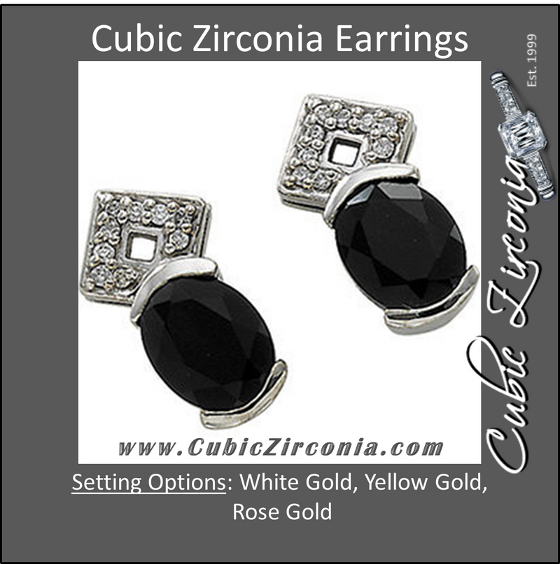 Cubic Zirconia Earrings- 3.10 Carat Oval Drop Dangle Earring Set