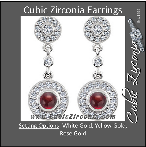 Cubic Zirconia Earrings- Articulated for Round Center