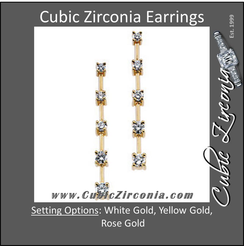 Cubic Zirconia Earrings- 0.80 Carat 5-Stone Round Cut Straight Drop Journey Earring Set