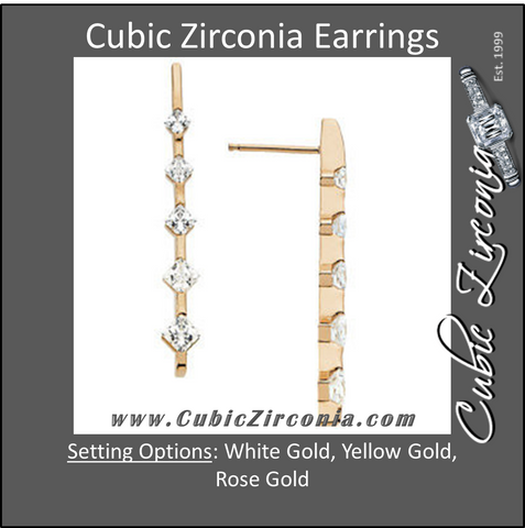 Cubic Zirconia Earrings- 1.0 Carat 5-Stone Princess Cut Straight Drop Journey Earring Set