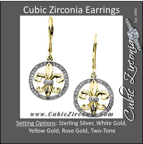 Cubic Zirconia Earrings- 0.39 Carat Two-Tone Over-sized Fleur-de-lis Dangle Earring Set