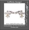Men's Cufflinks- Two-Tone Sterling Silver and 14K Yellow Gold Fleur-de-Lis Design