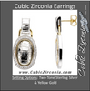 Cubic Zirconia Earrings- Oblong Shape Alligator Pattern
