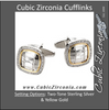 Men's Cufflinks- 0.5 TCW 92-stone Alligator Skin Two-Tone Design (Square)
