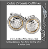 Men's Cufflinks- 0.5 TCW 92-stone Snake Skin Two-Tone Design (Round)
