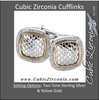 Men's Cufflinks- 0.5 TCW 92-stone Snake Skin Two-Tone Design (Square)