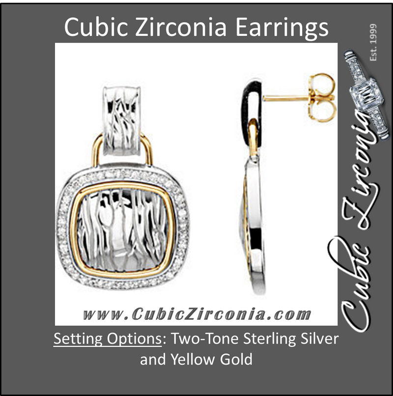 Cubic Zirconia Earrings- 0.50 Carat 92-stone Elephant Skin Pattern Drop Earring Set