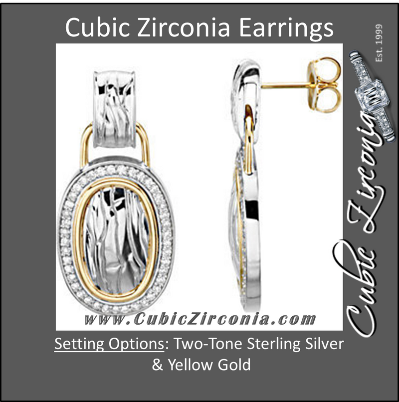 Cubic Zirconia Earrings- Oblong Shape Elephant Skin Design