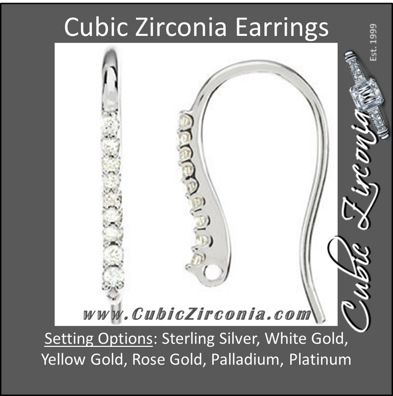 Cubic Zirconia Earrings- 0.12 Carat Graduated Round Cut Drop Earring Set