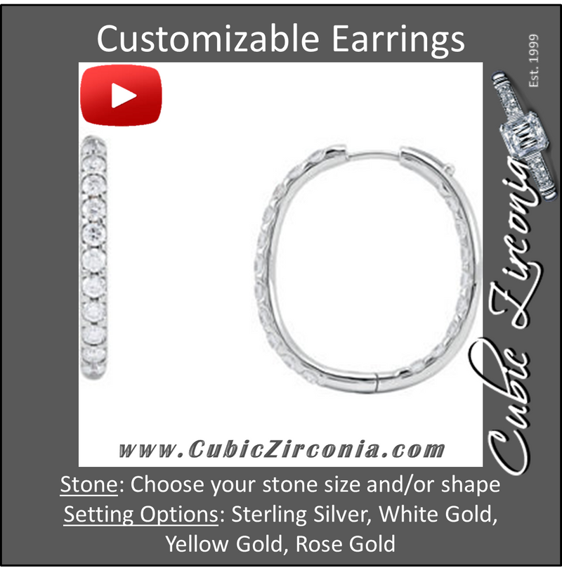 Cubic Zirconia Earrings- Customizable Round Cut Hinged Inside/Outside Hoop Earring Set