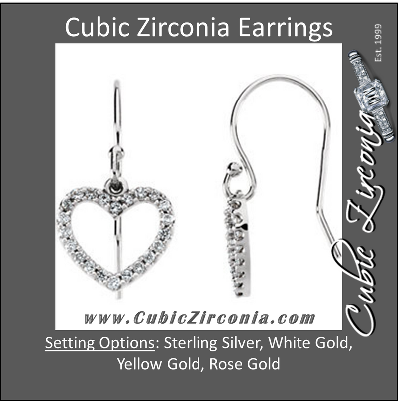 Cubic Zirconia Earrings- 0.20 Carat Petite Heart Dangle Earring Set