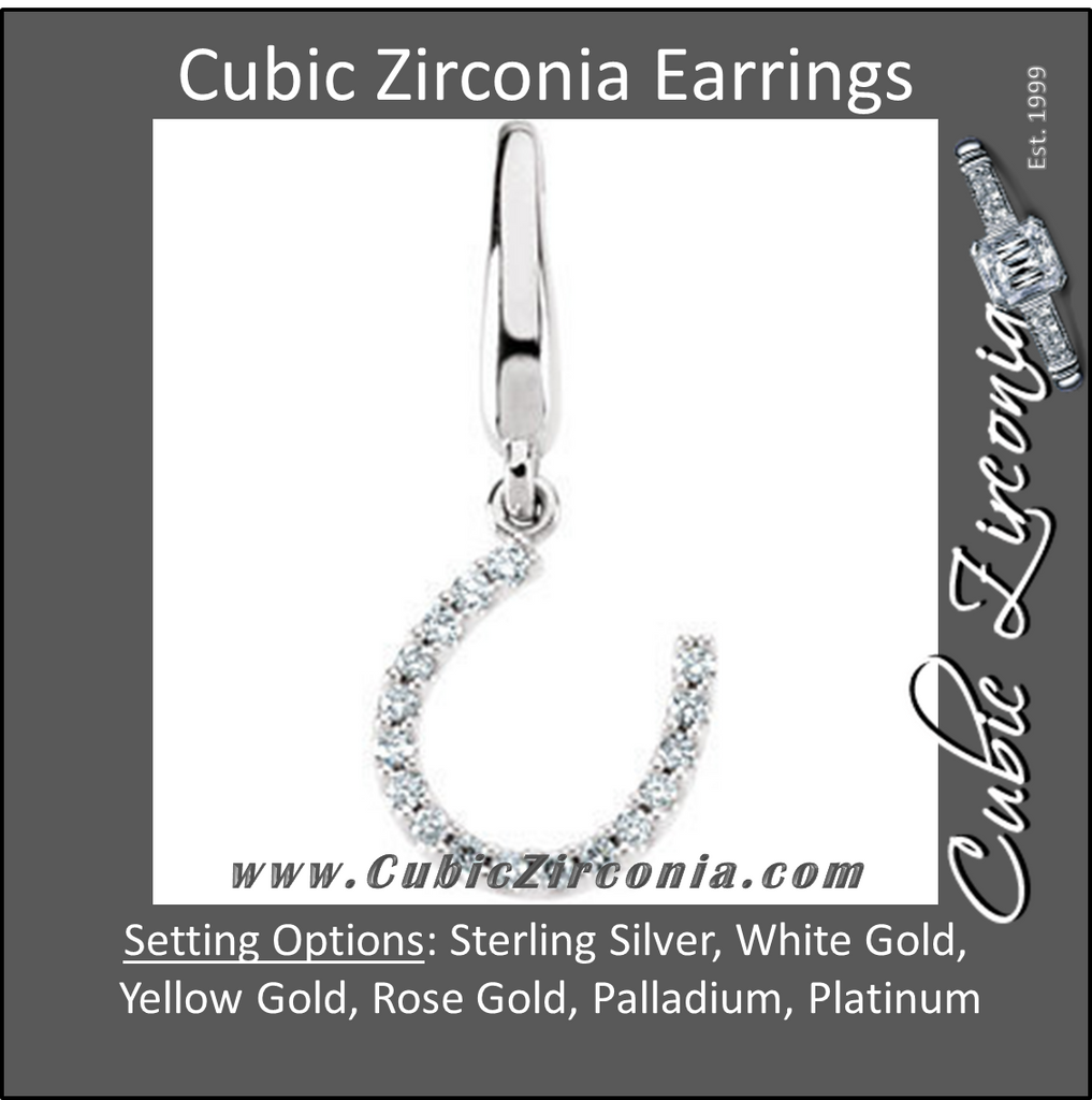 Cubic Zirconia Earrings- Petite Horseshoe Dangle
