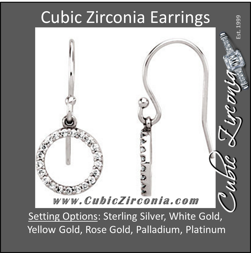 Cubic Zirconia Earrings- Petite Circle