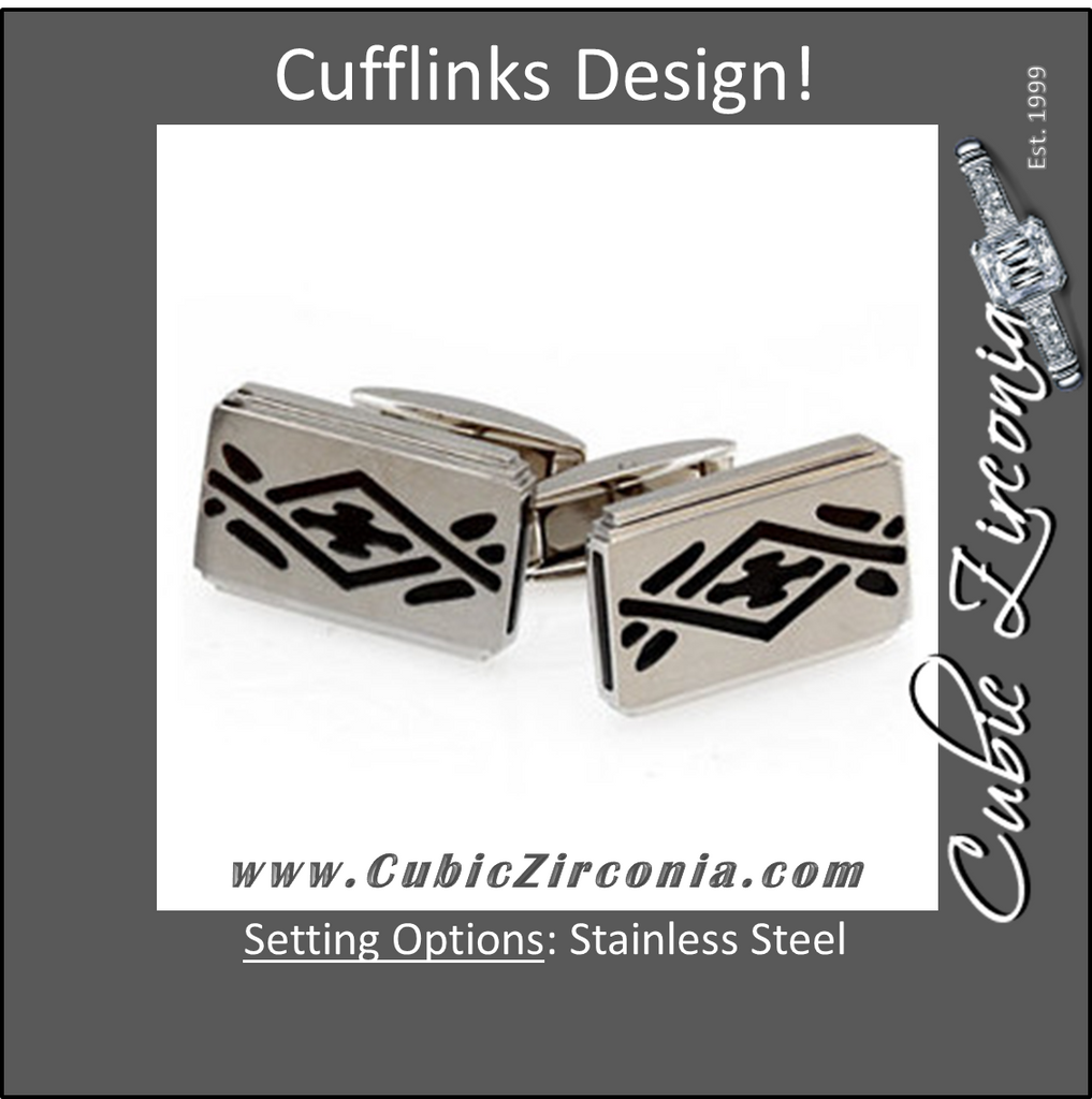 Men's Cufflinks- Stainless Steel with Black Ion Plate Inserts
