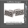 Men's Cufflinks- Stainless Steel with Black Ion Plate Inserts (Maze Design)