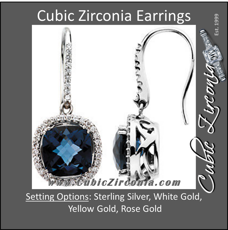Cubic Zirconia Earrings- 10.80 Carat Halo Cushion Cut with Imitation Sapphire Gemstone Earring Set
