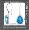 Cubic Zirconia Earrings- 14x9 Pear Halo-Styled Dangle
