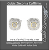 **Men's Cufflinks- 0.14 TCW 21-stone Two-tone with Hand-Engraving