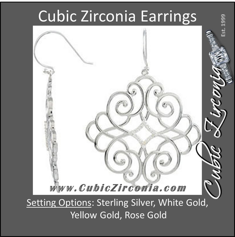 Cubic Zirconia Earrings- 0.20 Carat Fleur De Lis Inspired Diamond Shaped Dangle Earring Set