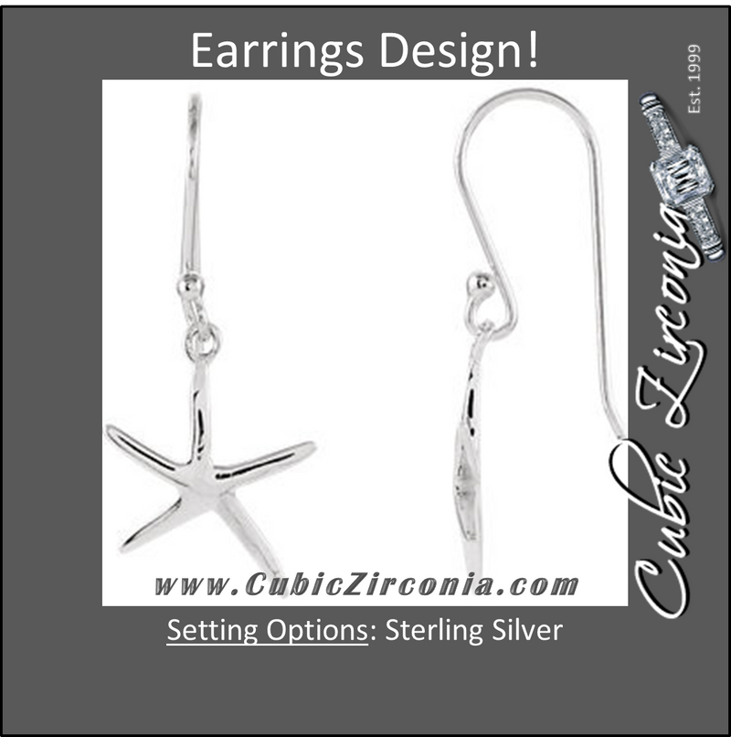 Cubic Zirconia Earrings-- Sterling Silver Plain Metal Starfish-Inspired Design Earring Set